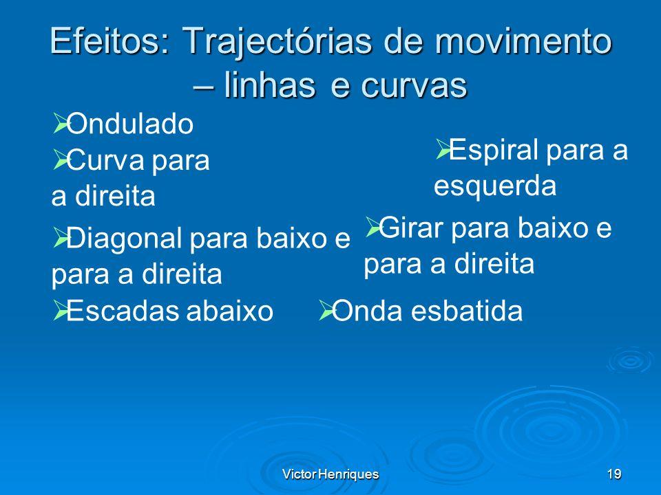 Victor Henriques19 Efeitos: Trajectórias de movimento – linhas e curvas Curva para a direita Diagonal para baixo e para a direita Escadas abaixo Espir