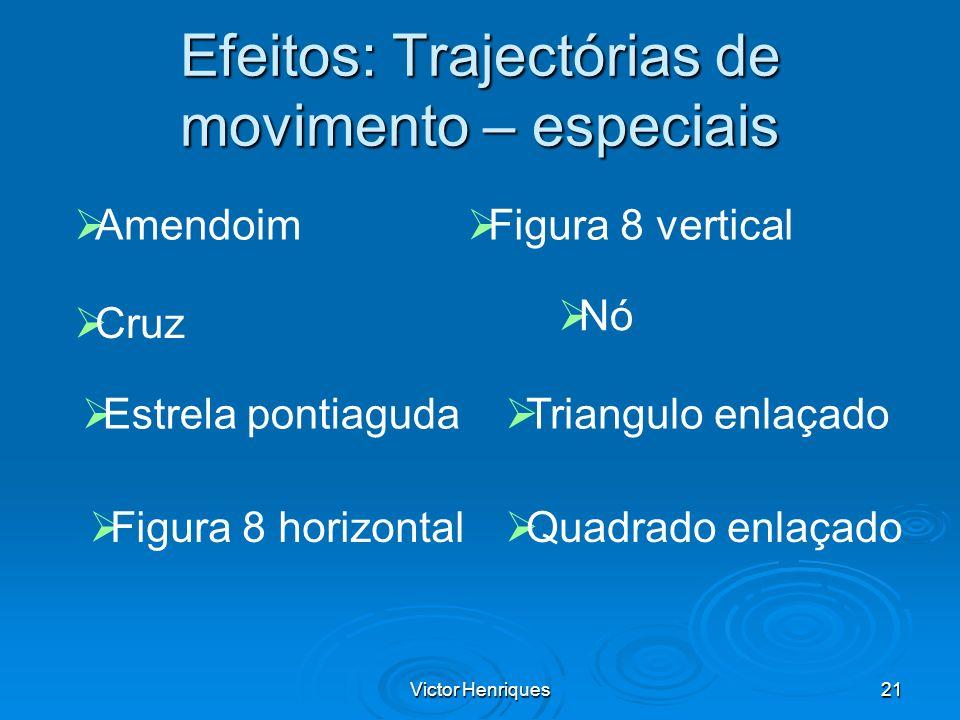 Victor Henriques21 Efeitos: Trajectórias de movimento – especiais Amendoim Cruz Estrela pontiaguda Figura 8 horizontal Figura 8 vertical Nó Triangulo