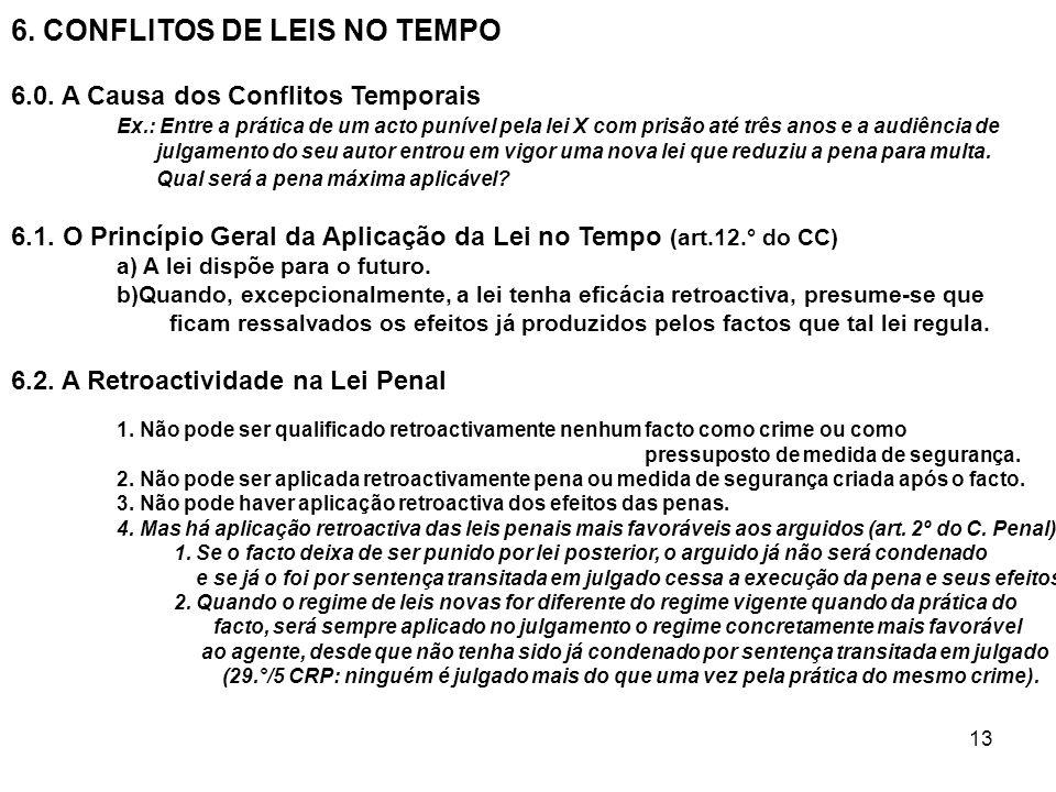 13 6. CONFLITOS DE LEIS NO TEMPO 6.0. A Causa dos Conflitos Temporais Ex.: Entre a prática de um acto punível pela lei X com prisão até três anos e a