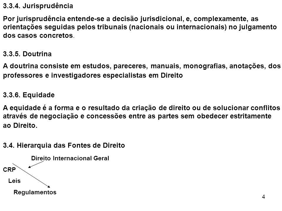 4 3.3.4. Jurisprudência Por jurisprudência entende-se a decisão jurisdicional, e, complexamente, as orientações seguidas pelos tribunais (nacionais ou