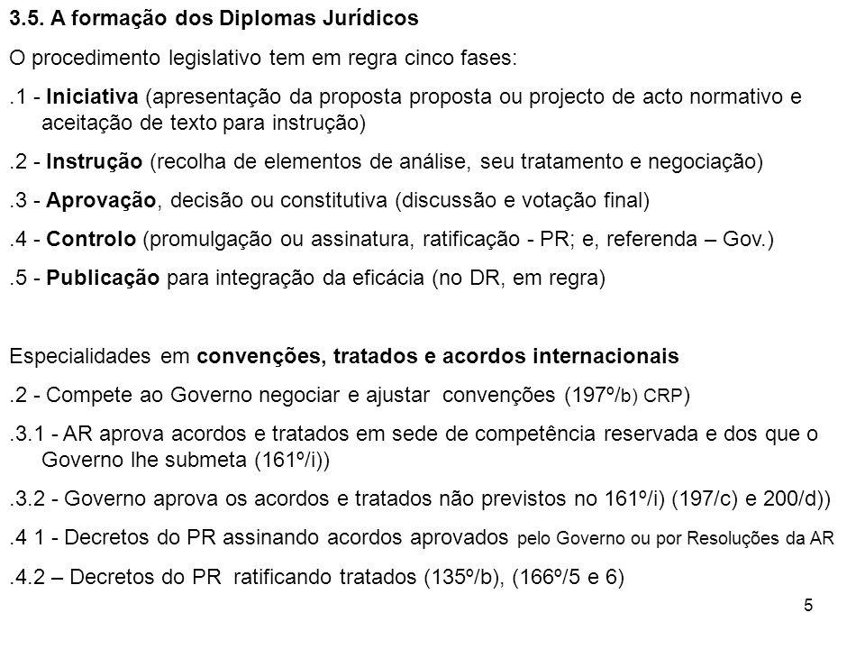 5 3.5. A formação dos Diplomas Jurídicos O procedimento legislativo tem em regra cinco fases:.1 - Iniciativa (apresentação da proposta proposta ou pro