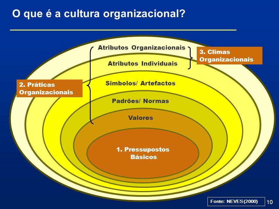 10 O que é a cultura organizacional? Simbolos/ Artefactos Atributos Organizacionais Atributos Individuais 3. Climas Organizacionais Padrões/ Normas VA