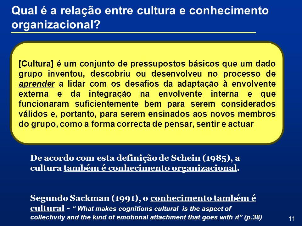 11 [Cultura] é um conjunto de pressupostos básicos que um dado grupo inventou, descobriu ou desenvolveu no processo de aprender a lidar com os desafio