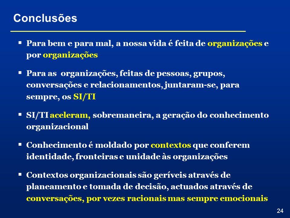 24 Conclusões Para bem e para mal, a nossa vida é feita de organizações e por organizações Para as organizações, feitas de pessoas, grupos, conversaçõ