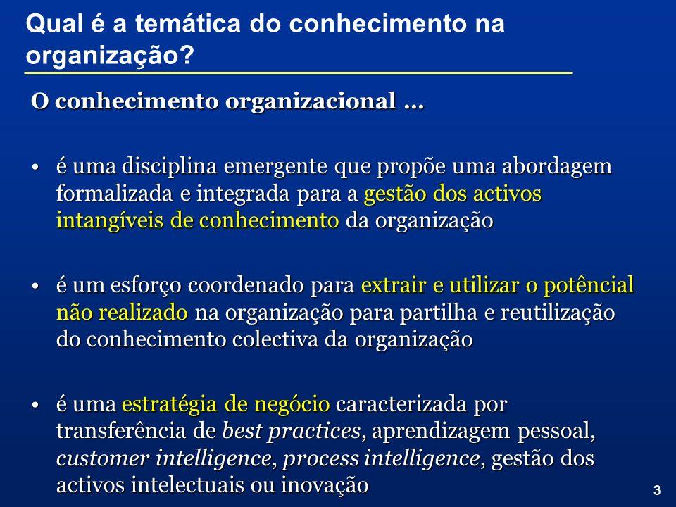 3 O conhecimento organizacional … é uma disciplina emergente que propõe uma abordagem formalizada e integrada para a gestão dos activos intangíveis de