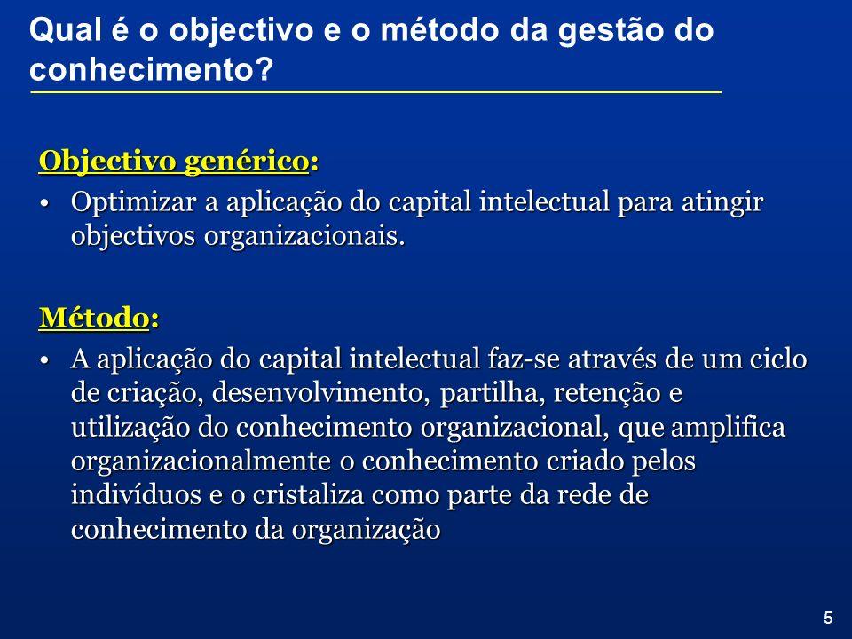 5 Objectivo genérico: Optimizar a aplicação do capital intelectual para atingir objectivos organizacionais.Optimizar a aplicação do capital intelectua