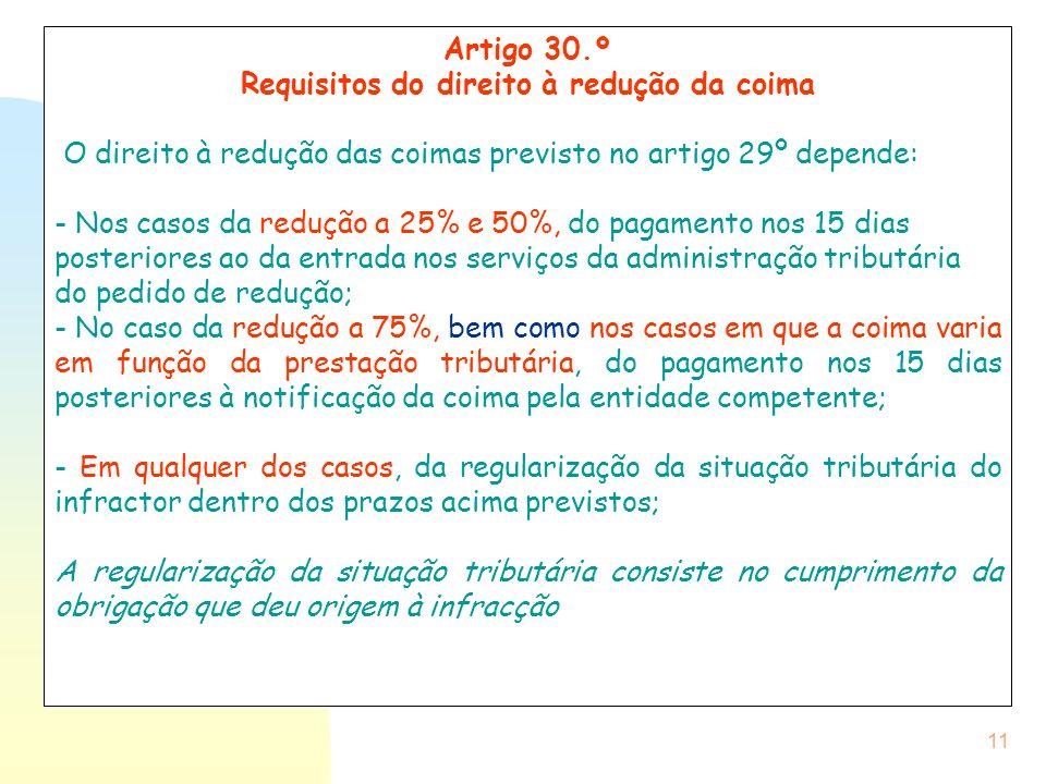 11 Artigo 30.º Requisitos do direito à redução da coima O direito à redução das coimas previsto no artigo 29º depende: - Nos casos da redução a 25% e