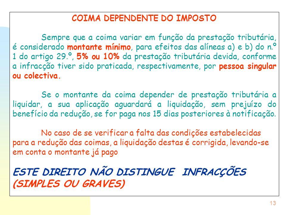 13 COIMA DEPENDENTE DO IMPOSTO Sempre que a coima variar em função da prestação tributária, é considerado montante mínimo, para efeitos das alíneas a)