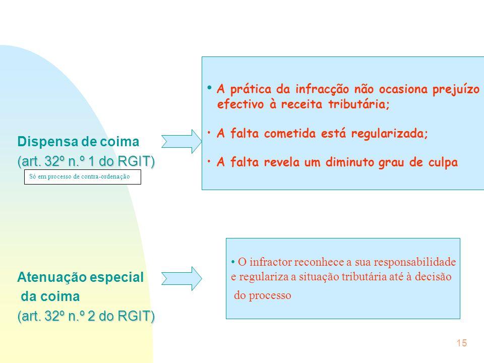 15 Dispensa de coima (art. 32º n.º 1 do RGIT) Atenuação especial da coima (art. 32º n.º 2 do RGIT) A prática da infracção não ocasiona prejuízo efecti