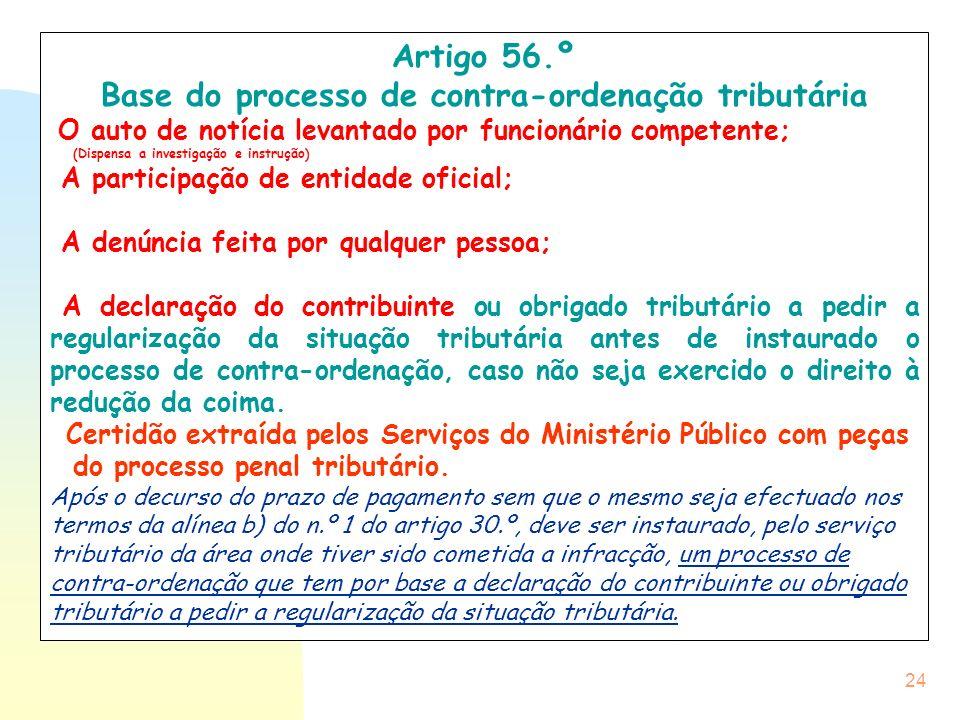 24 Artigo 56.º Base do processo de contra-ordenação tributária O auto de notícia levantado por funcionário competente; (Dispensa a investigação e inst