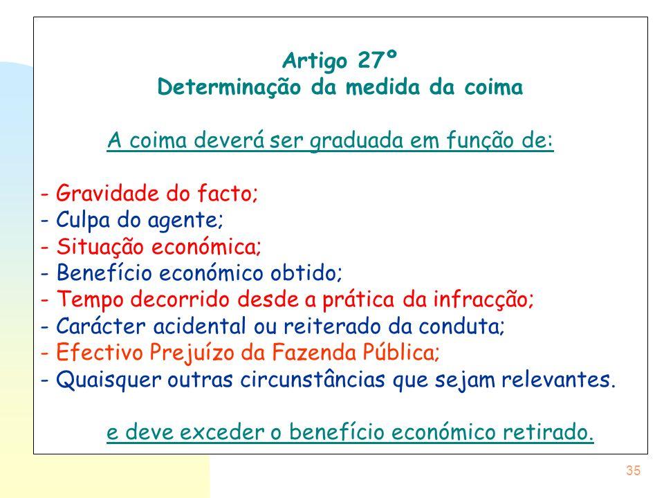 35 Artigo 27º Determinação da medida da coima A coima deverá ser graduada em função de: - Gravidade do facto; - Culpa do agente; - Situação económica;