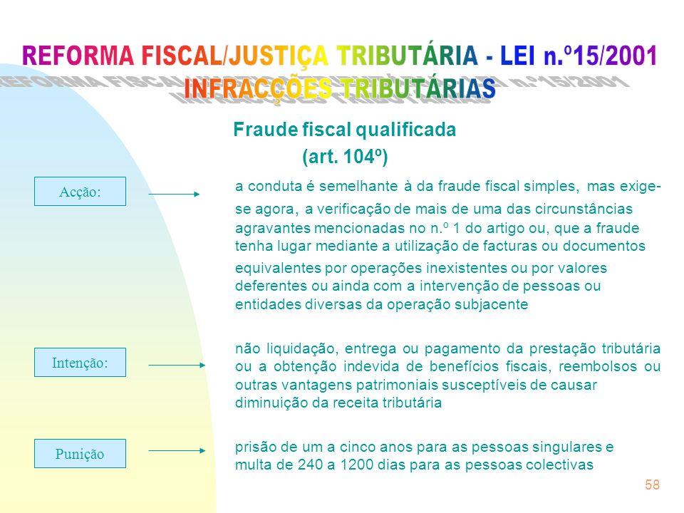 58 Fraude fiscal qualificada (art. 104º) a conduta é semelhante à da fraude fiscal simples, mas exige- se agora, a verificação de mais de uma das circ