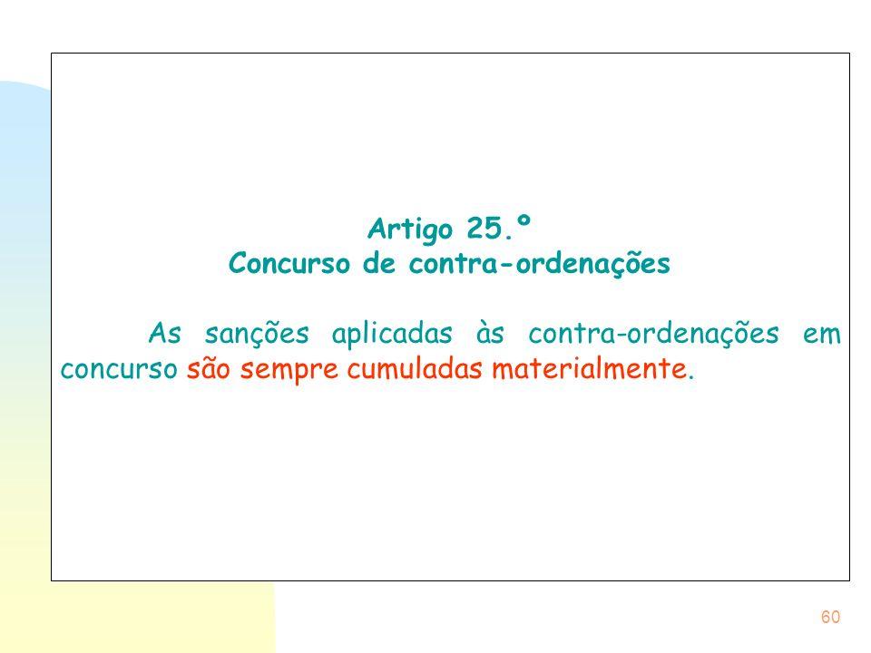 60 Artigo 25.º Concurso de contra-ordenações As sanções aplicadas às contra-ordenações em concurso são sempre cumuladas materialmente.