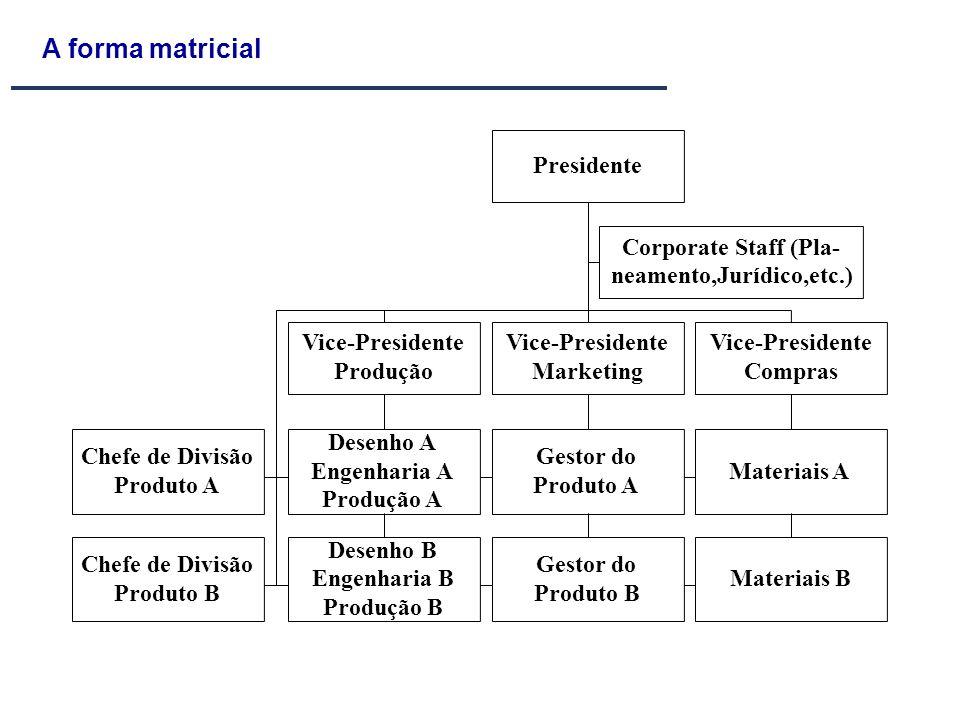 A forma matricial Presidente Corporate Staff (Pla- neamento,Jurídico,etc.) Vice-Presidente Marketing Vice-Presidente Produção Vice-Presidente Compras