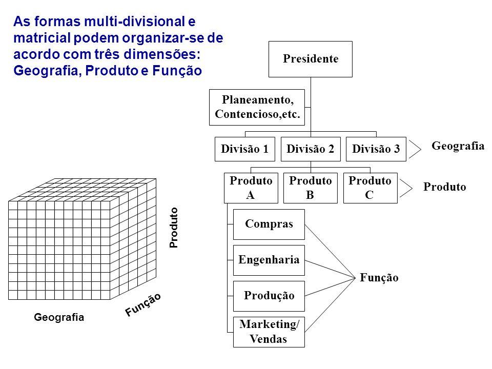 Presidente Planeamento, Contencioso,etc. Divisão 1Divisão 2Divisão 3 Produto A B C Compras Engenharia Produção Marketing/ Vendas Função Produto Geogra