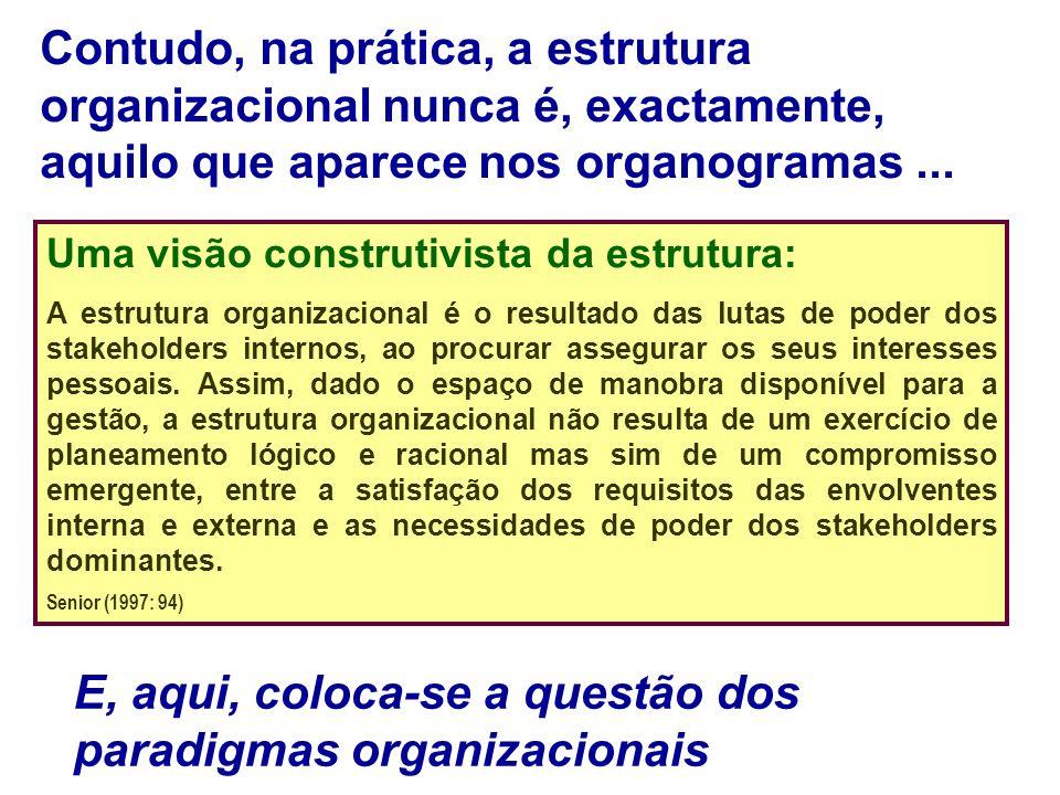 Uma visão construtivista da estrutura: A estrutura organizacional é o resultado das lutas de poder dos stakeholders internos, ao procurar assegurar os