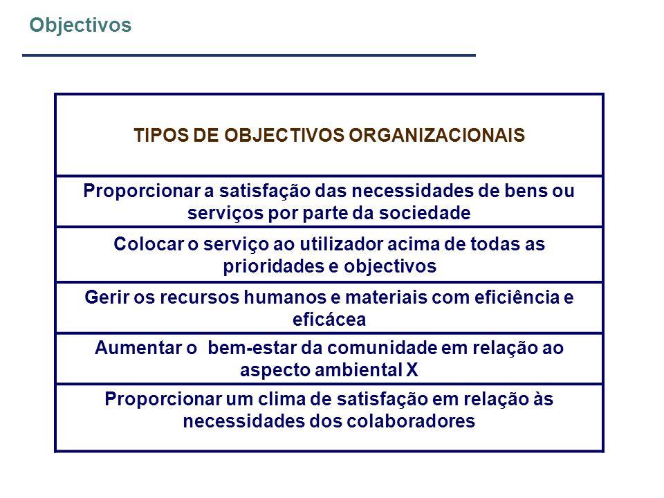 Objectivos A Organização cria uma estrutura e atribui todos os recursos necessários para alcançar os objectivos Organizações devem definir estratégias, políticas e planos para alcançar os objectivos Objectivos devem ser formalizados e comunicados a todos os colaboradores e definidas e comunicadas as formas de os controlar