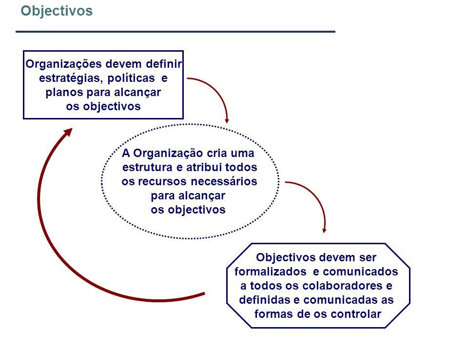 Objectivos A Organização cria uma estrutura e atribui todos os recursos necessários para alcançar os objectivos Organizações devem definir estratégias
