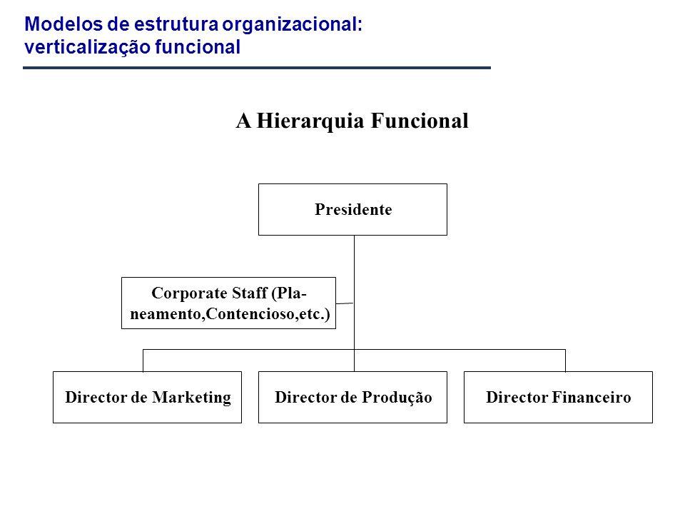 Modelos de estrutura organizacional: verticalização funcional Presidente Corporate Staff (Pla- neamento,Contencioso,etc.) Director de MarketingDirecto