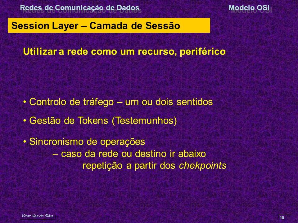 Vitor Vaz da Silva Redes de Comunicação de DadosModelo OSI 10 Session Layer – Camada de Sessão Utilizar a rede como um recurso, periférico Controlo de