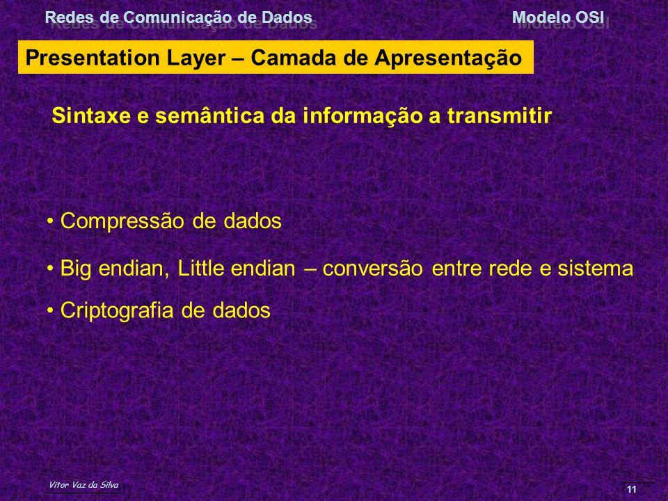 Vitor Vaz da Silva Redes de Comunicação de DadosModelo OSI 11 Presentation Layer – Camada de Apresentação Sintaxe e semântica da informação a transmit