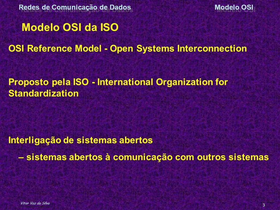 Vitor Vaz da Silva Redes de Comunicação de DadosModelo OSI 3 Modelo OSI da ISO OSI Reference Model - Open Systems Interconnection Proposto pela ISO -