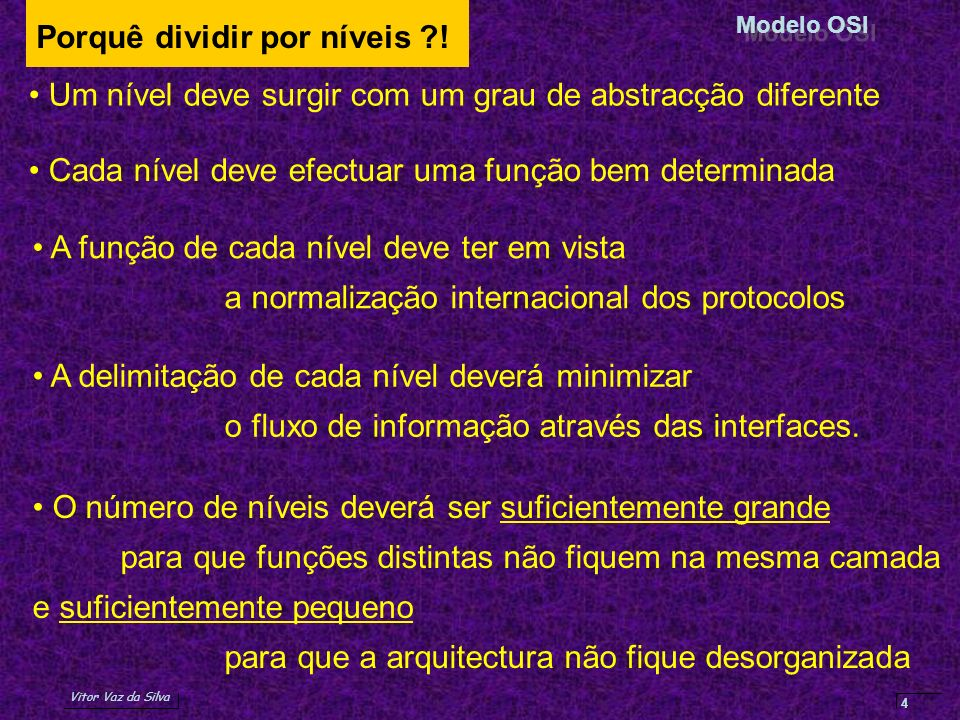 Vitor Vaz da Silva Redes de Comunicação de DadosModelo OSI 4 Porquê dividir por níveis ?! Cada nível deve efectuar uma função bem determinada Um nível