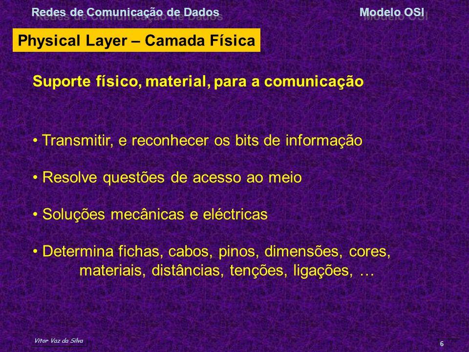 Vitor Vaz da Silva Redes de Comunicação de DadosModelo OSI 6 Physical Layer – Camada Física Transmitir, e reconhecer os bits de informação Soluções me