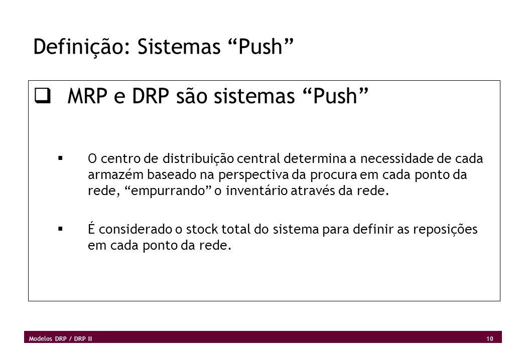 10 Modelos DRP / DRP II Definição: Sistemas Push MRP e DRP são sistemas Push O centro de distribuição central determina a necessidade de cada armazém