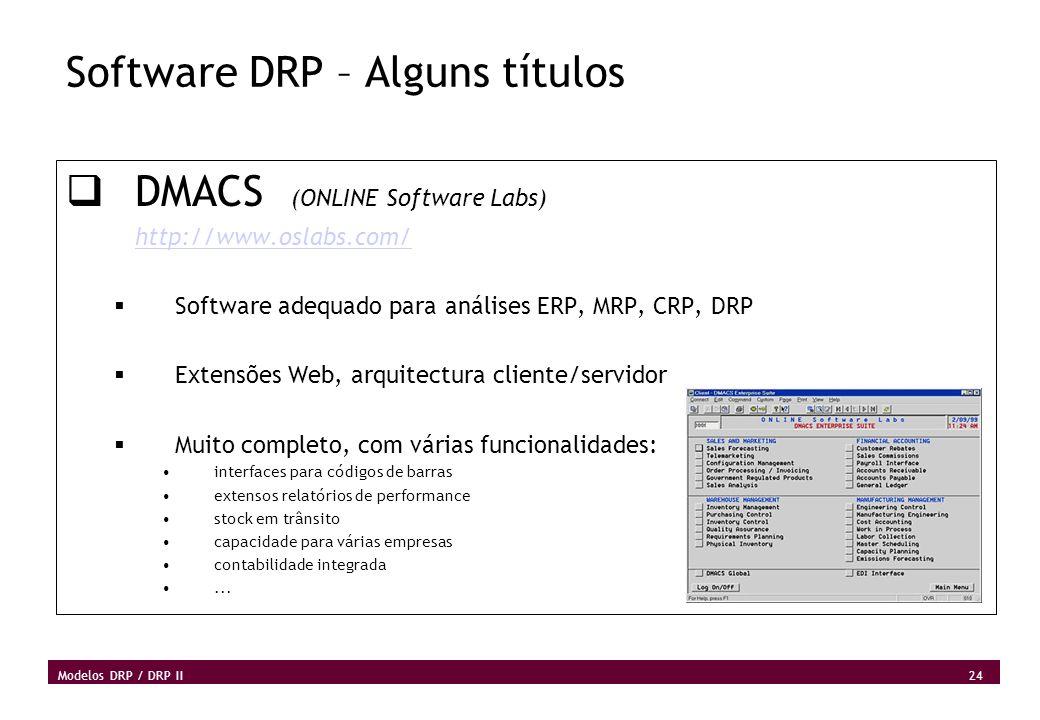 24 Modelos DRP / DRP II Software DRP – Alguns títulos DMACS (ONLINE Software Labs) http://www.oslabs.com/ Software adequado para análises ERP, MRP, CR