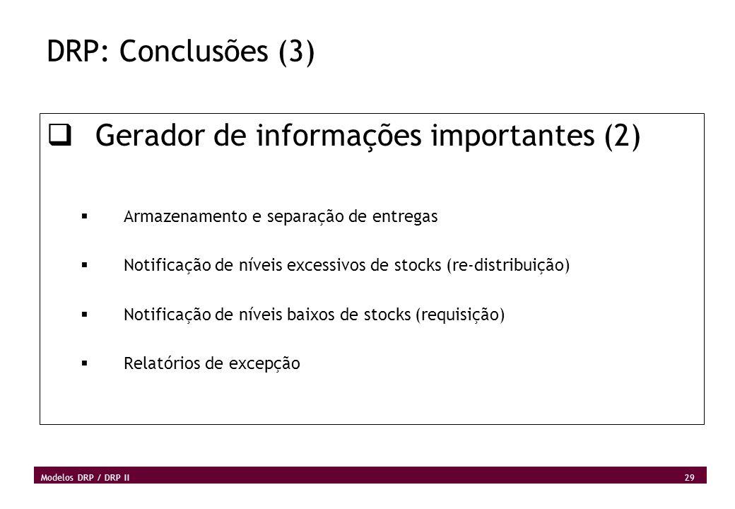 29 Modelos DRP / DRP II DRP: Conclusões (3) Gerador de informações importantes (2) Armazenamento e separação de entregas Notificação de níveis excessi