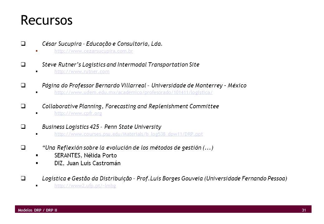 31 Modelos DRP / DRP II Recursos César Sucupira – Educação e Consultoria, Lda. http://www.cezarsucupira.com.br Steve Rutners Logistics and Intermodal