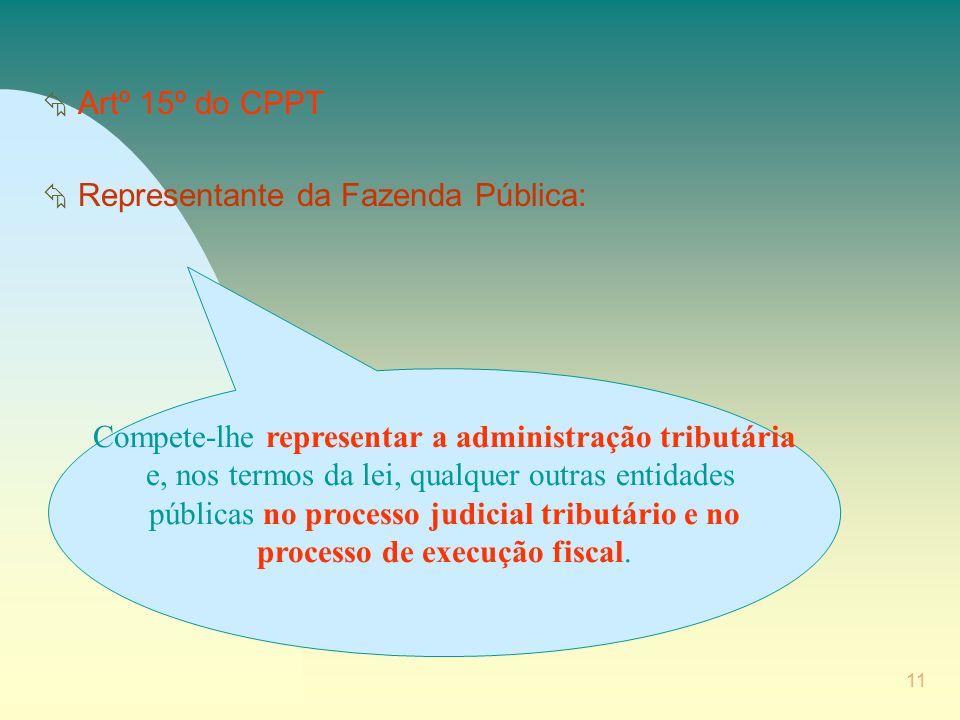 11 Å Artº 15º do CPPT Å Representante da Fazenda Pública: Compete-lhe representar a administração tributária e, nos termos da lei, qualquer outras entidades públicas no processo judicial tributário e no processo de execução fiscal.