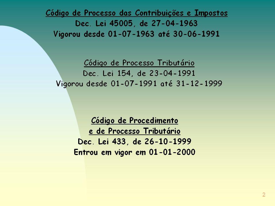 3 Aprovação do CPPT / Objectivos: n adaptar o ordenamento processual tributário à Lei Geral Tributária e à reforma do Processo Civil; n consagrar soluções decorrentes da experiência de aplicação do CPT