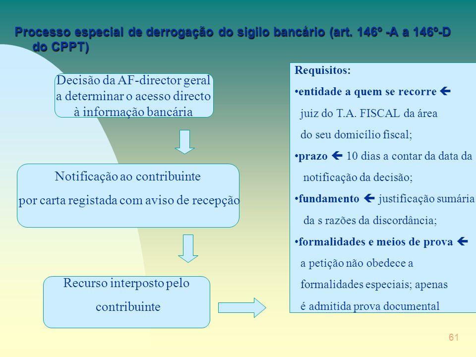 61 Processo especial de derrogação do sigilo bancário (art.