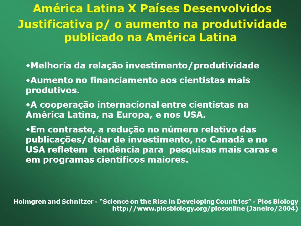 América Latina X Países Desenvolvidos Justificativa p/ o aumento na produtividade publicado na América Latina Melhoria da relação investimento/produti