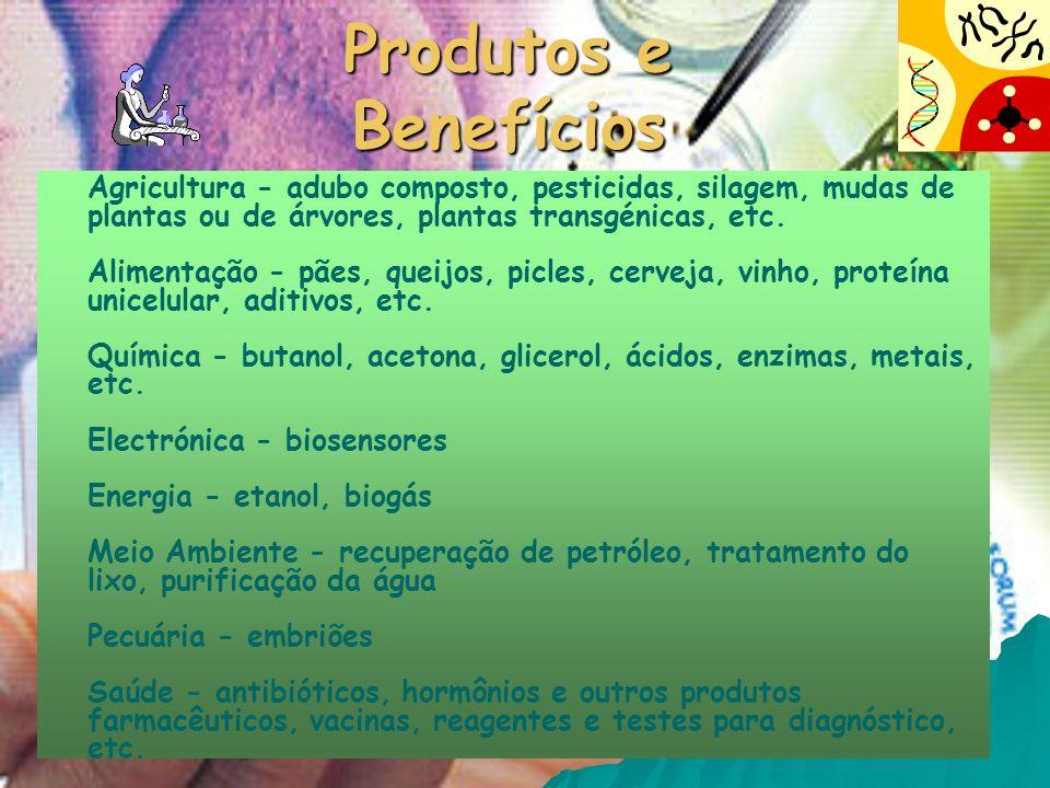 Produtos e Benefícios Agricultura - adubo composto, pesticidas, silagem, mudas de plantas ou de árvores, plantas transgénicas, etc. Alimentação - pães