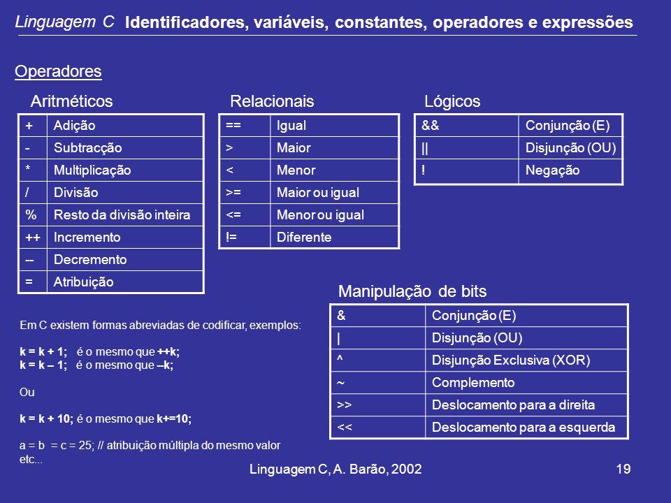 Linguagem C, A. Barão, 200219 Linguagem C Identificadores, variáveis, constantes, operadores e expressões Operadores +Adição -Subtracção *Multiplicaçã