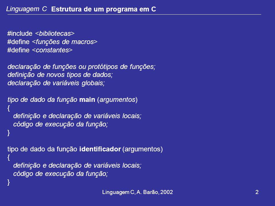 Linguagem C, A. Barão, 20022 Linguagem C Estrutura de um programa em C #include #define declaração de funções ou protótipos de funções; definição de n