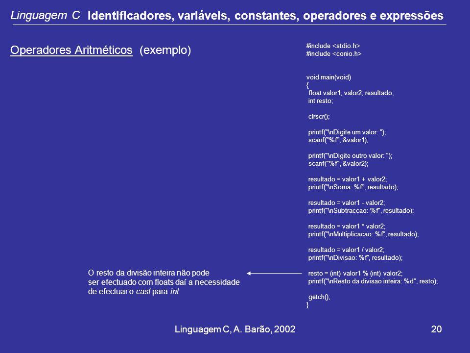 Linguagem C, A. Barão, 200220 Linguagem C Identificadores, variáveis, constantes, operadores e expressões Operadores Aritméticos (exemplo) #include vo