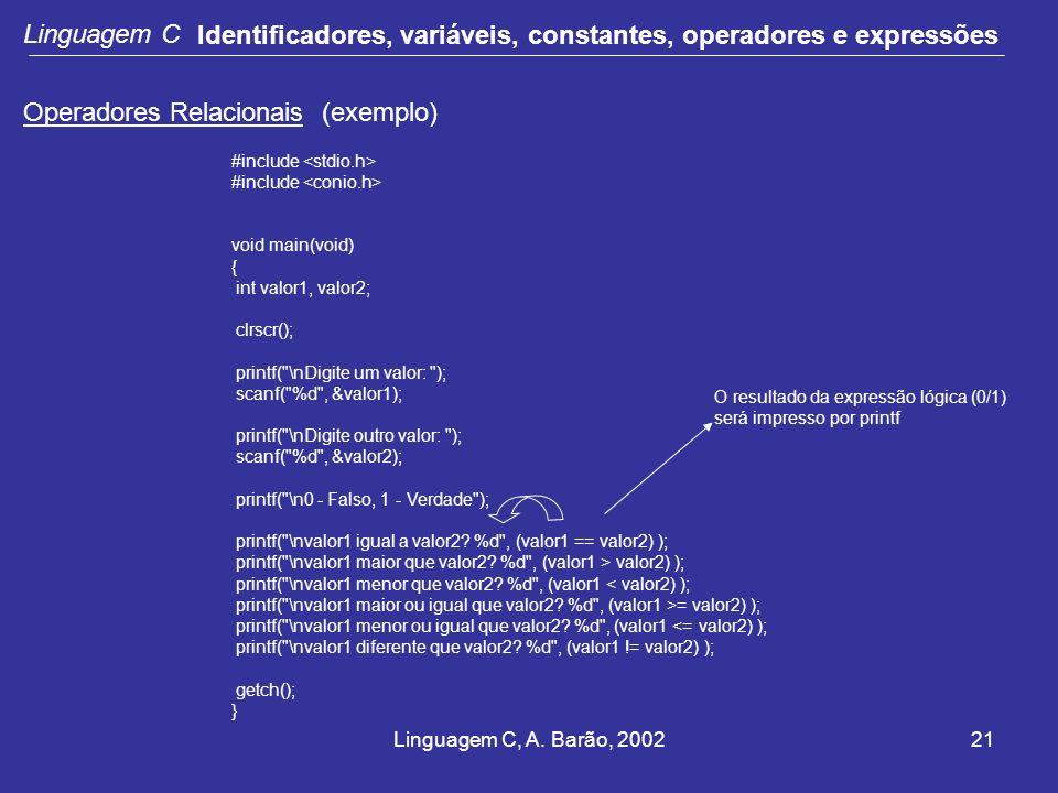 Linguagem C, A. Barão, 200221 Linguagem C Identificadores, variáveis, constantes, operadores e expressões Operadores Relacionais (exemplo) #include vo