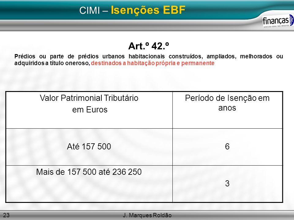 J. Marques Roldão23 CIMI – Isenções EBF Art.º 42.º Prédios ou parte de prédios urbanos habitacionais construídos, ampliados, melhorados ou adquiridos