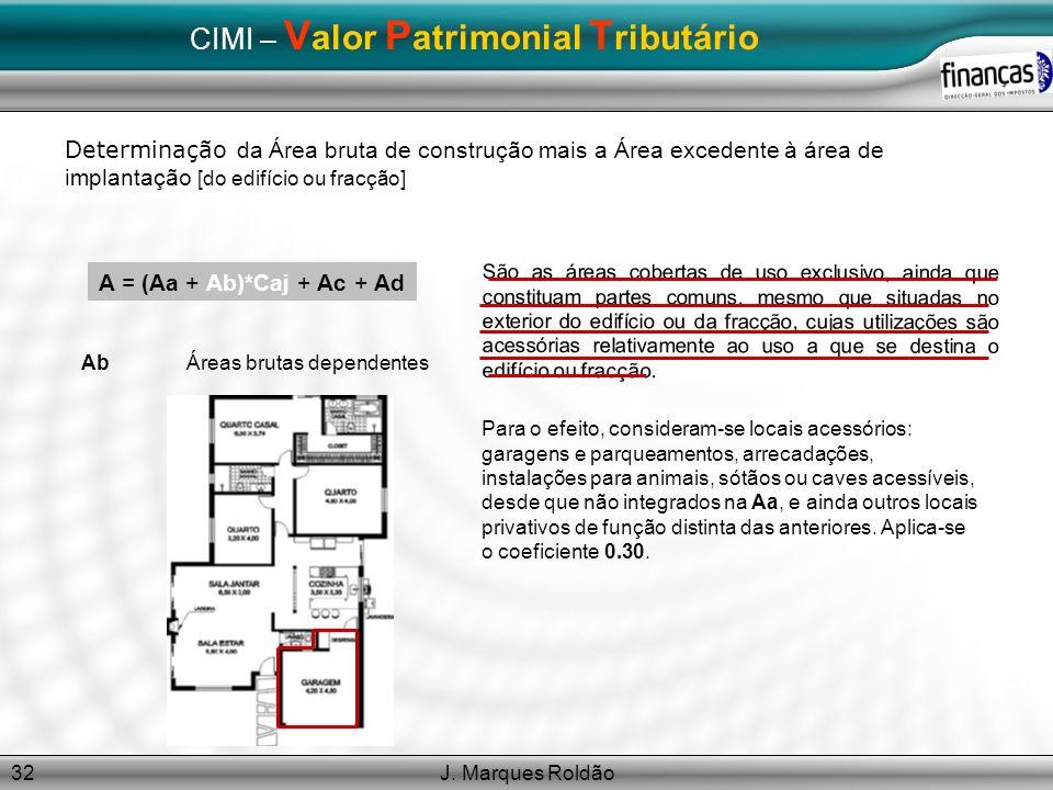 J. Marques Roldão32 CIMI – V alor P atrimonial T ributário Determinação da Área bruta de construção mais a Área excedente à área de implantação [do ed