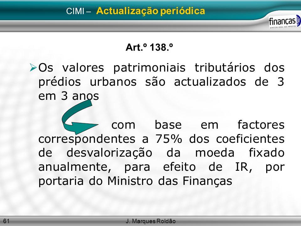 J. Marques Roldão61 CIMI – Actualização periódica Art.º 138.º Os valores patrimoniais tributários dos prédios urbanos são actualizados de 3 em 3 anos