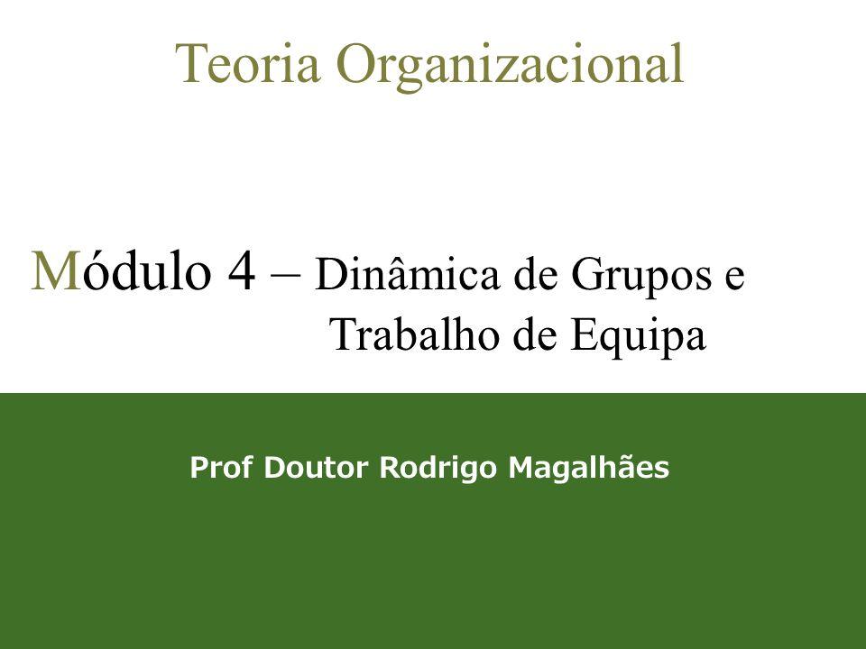1 Teoria Organizacional Módulo 4 – Dinâmica de Grupos e Trabalho de Equipa Prof Doutor Rodrigo Magalhães