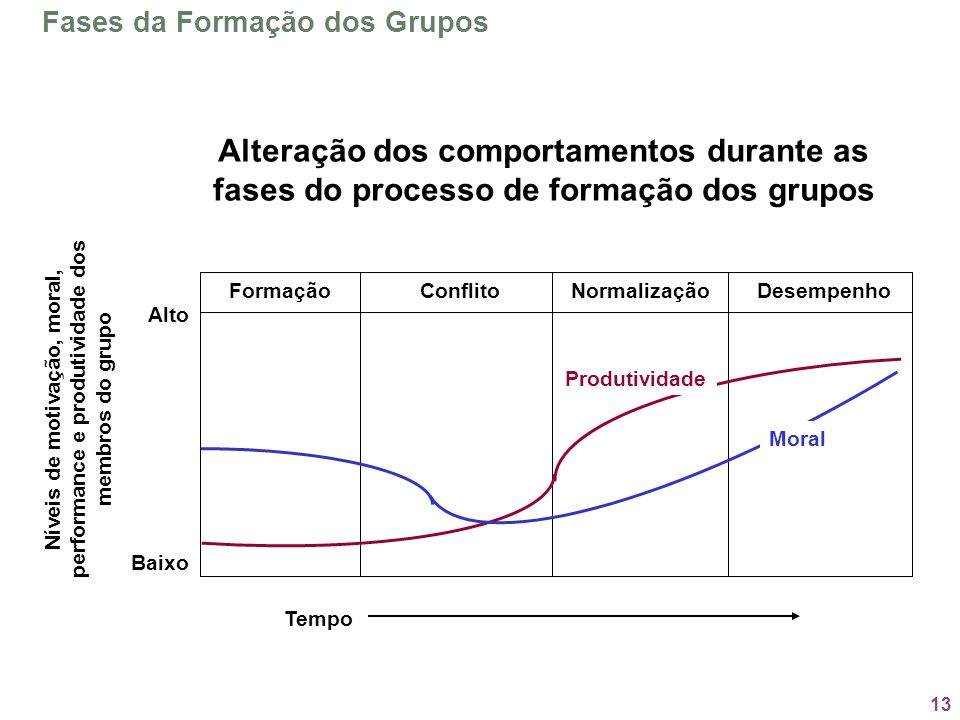 13 Fases da Formação dos Grupos Níveis de motivação, moral, performance e produtividade dos membros do grupo Alto Baixo FormaçãoConflitoNormalizaçãoDe