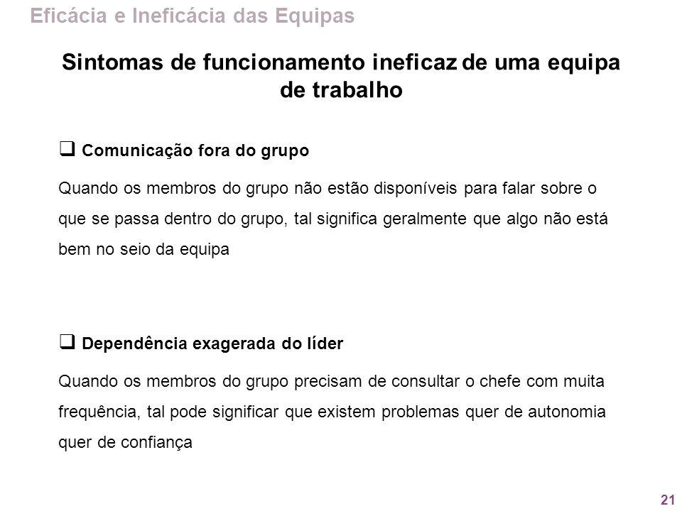 21 Eficácia e Ineficácia das Equipas Comunicação fora do grupo Quando os membros do grupo não estão disponíveis para falar sobre o que se passa dentro