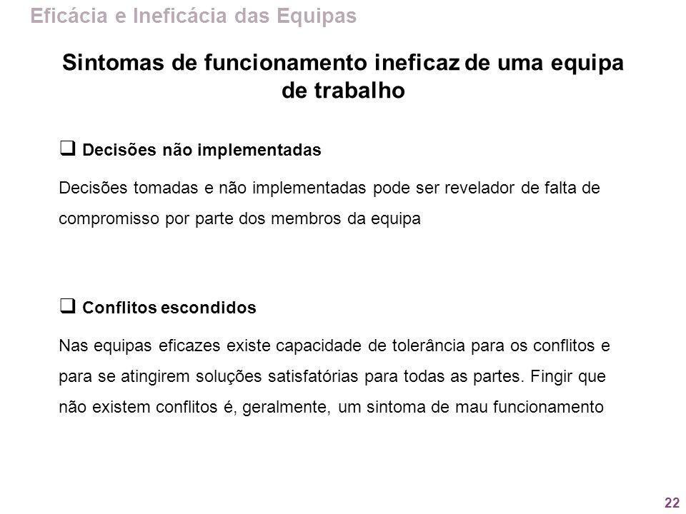 22 Eficácia e Ineficácia das Equipas Decisões não implementadas Decisões tomadas e não implementadas pode ser revelador de falta de compromisso por pa