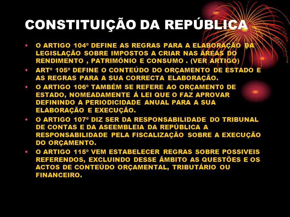 CONSTITUIÇÃO DA REPÚBLICA O ARTIGO 104º DEFINE AS REGRAS PARA A ELABORAÇÃO DA LEGISLAÇÃO SOBRE IMPOSTOS A CRIAR NAS ÁREAS DO RENDIMENTO, PATRIMÓNIO E