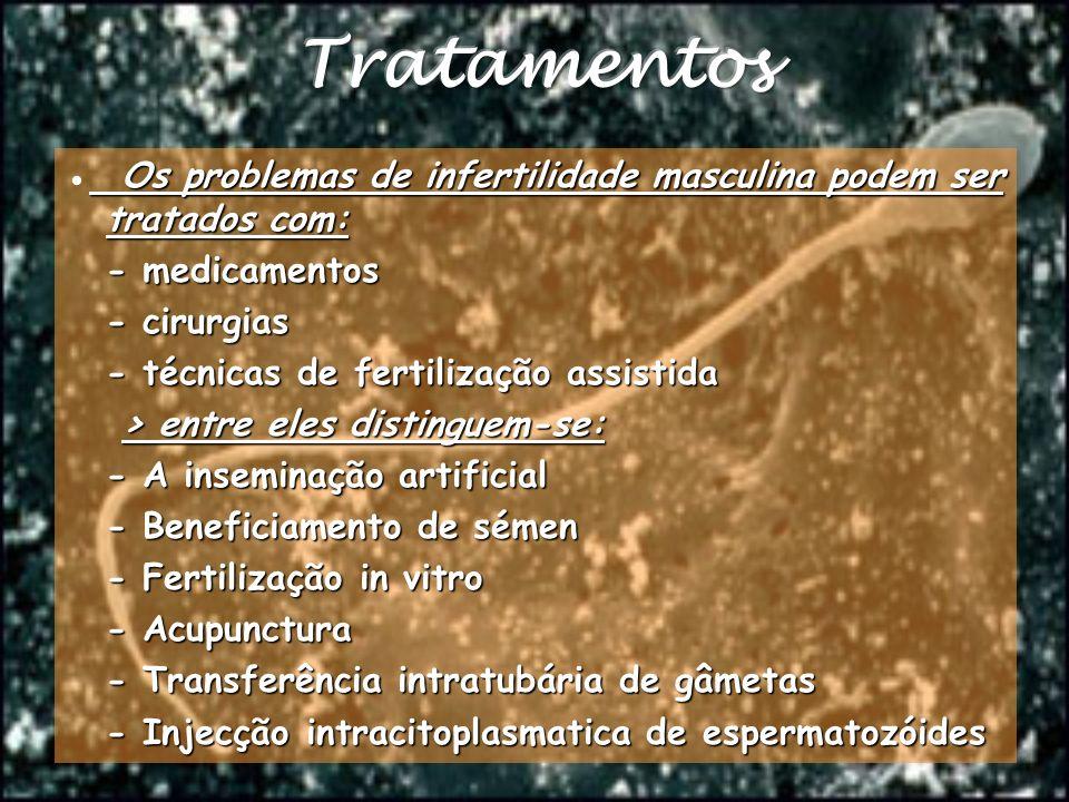 Os problemas de infertilidade masculina podem ser tratados com: Os problemas de infertilidade masculina podem ser tratados com: - medicamentos - cirur